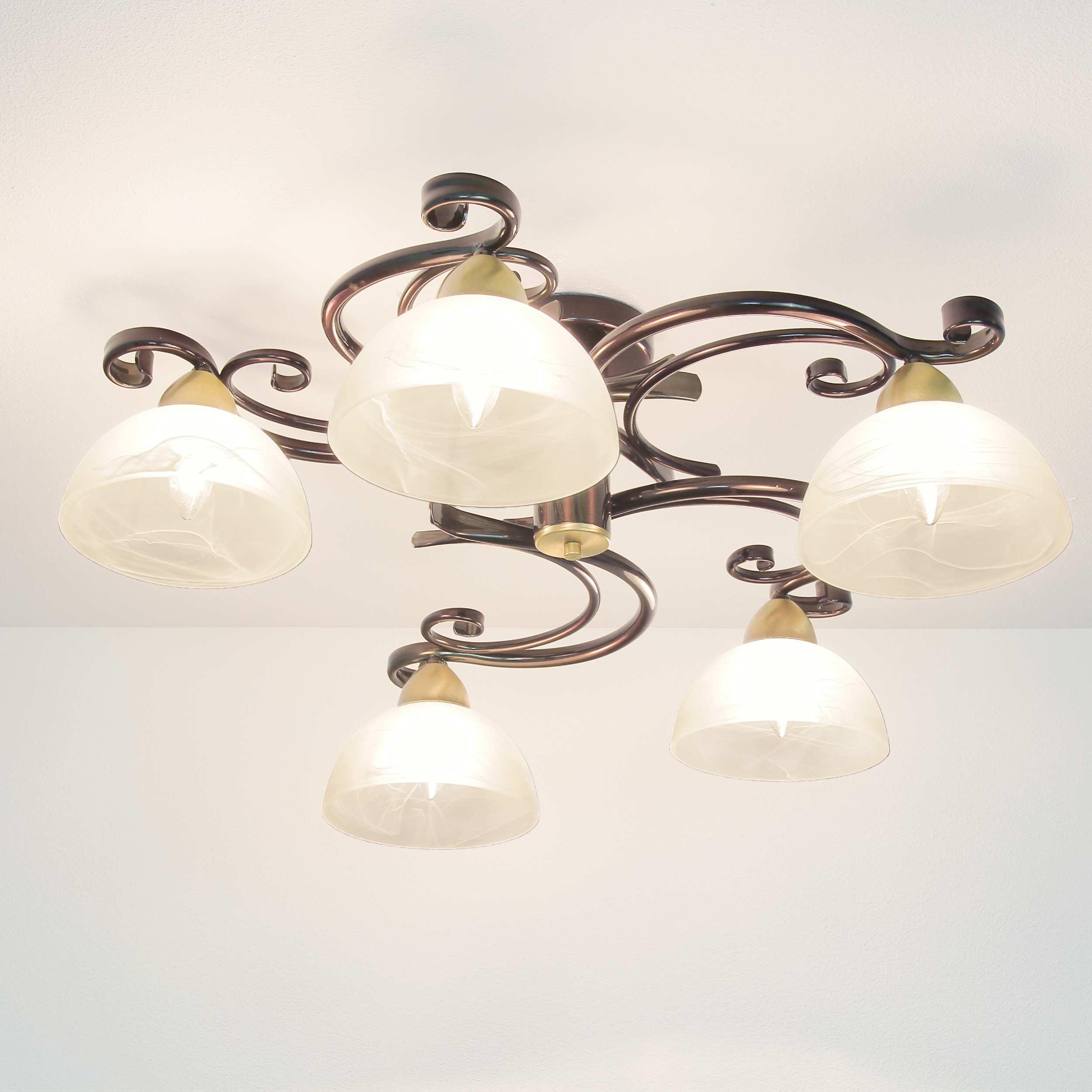 Deckenleuchte Landhaus rustikal Ø78cm 5x E27 Lampe Decke Messing Floral Glas   eBay