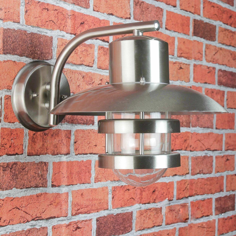 Außenbeleuchtung Fasssaden Wandleuchte Edelstahl Gartenlampe silber Höhe 40 cm