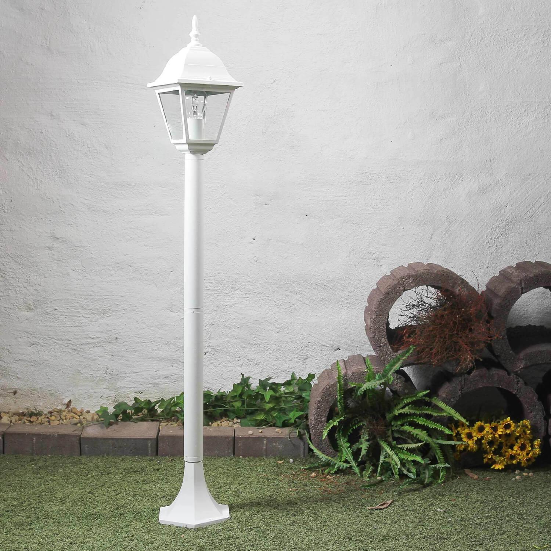 Rustikale Stehleuchte Gartenleuchte in weiß Gartenlaterne Wegleuchte Außenlampen