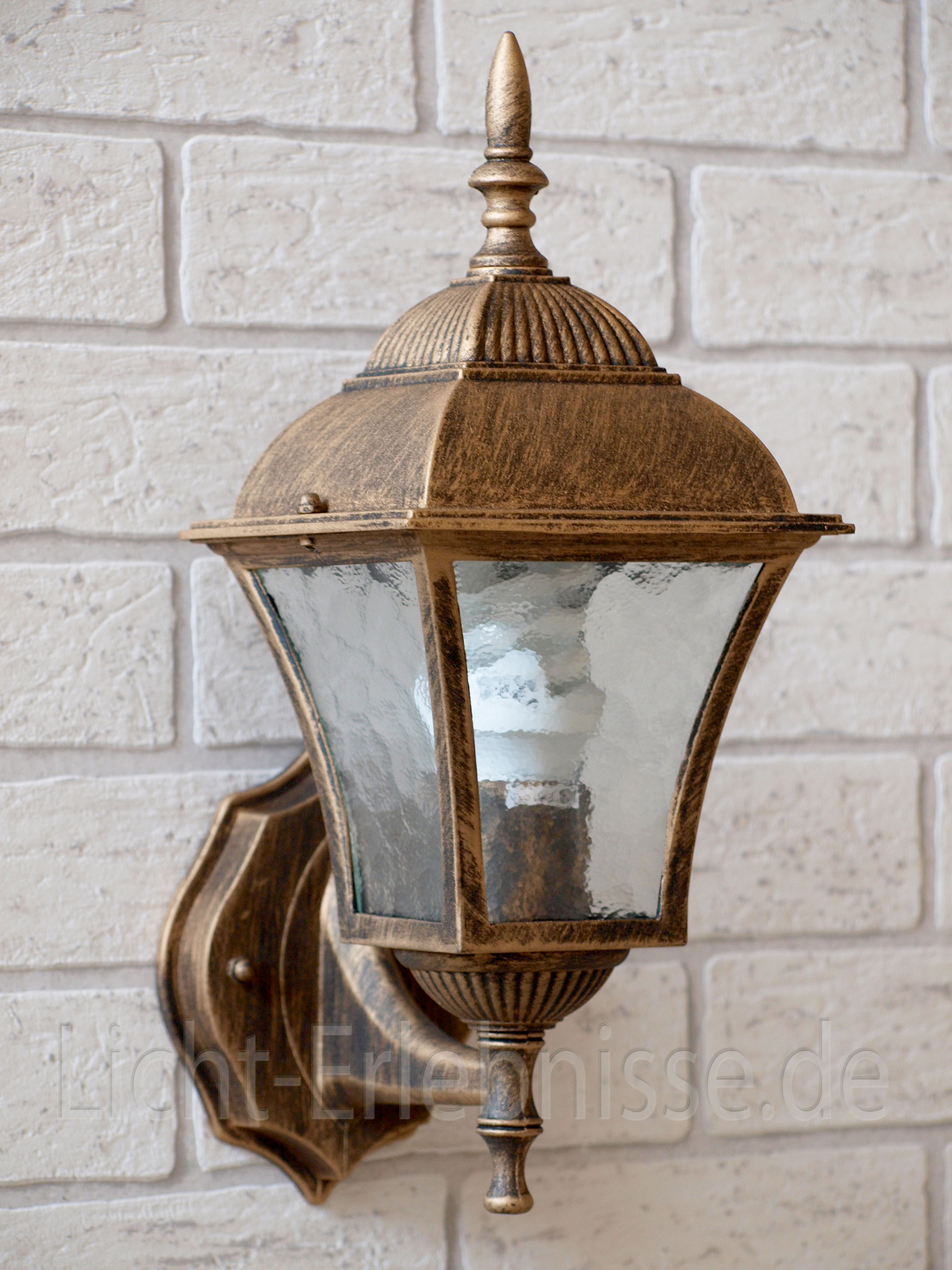 Edle Wandaußenleuchte in antik Außenlampe Hoflampe Laterne Aufputz Wandlampen