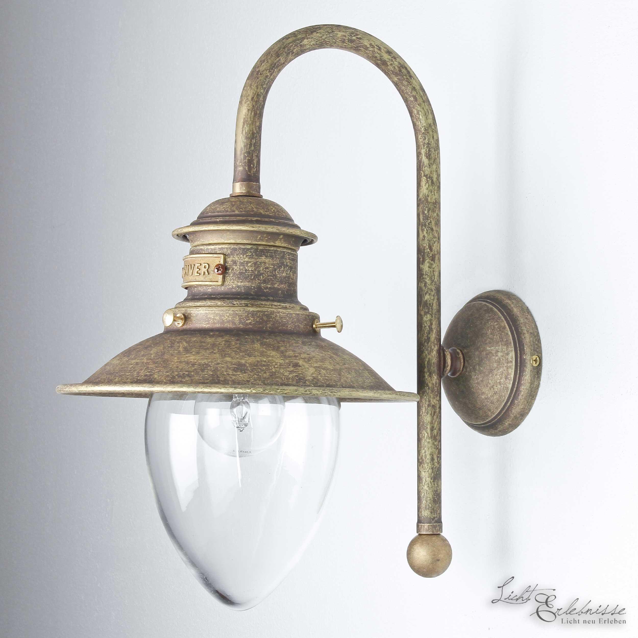 Außen Wandleuchte Lampe Echt-Messing Bronziert IP44 E27 Glas Maritim Handarbeit