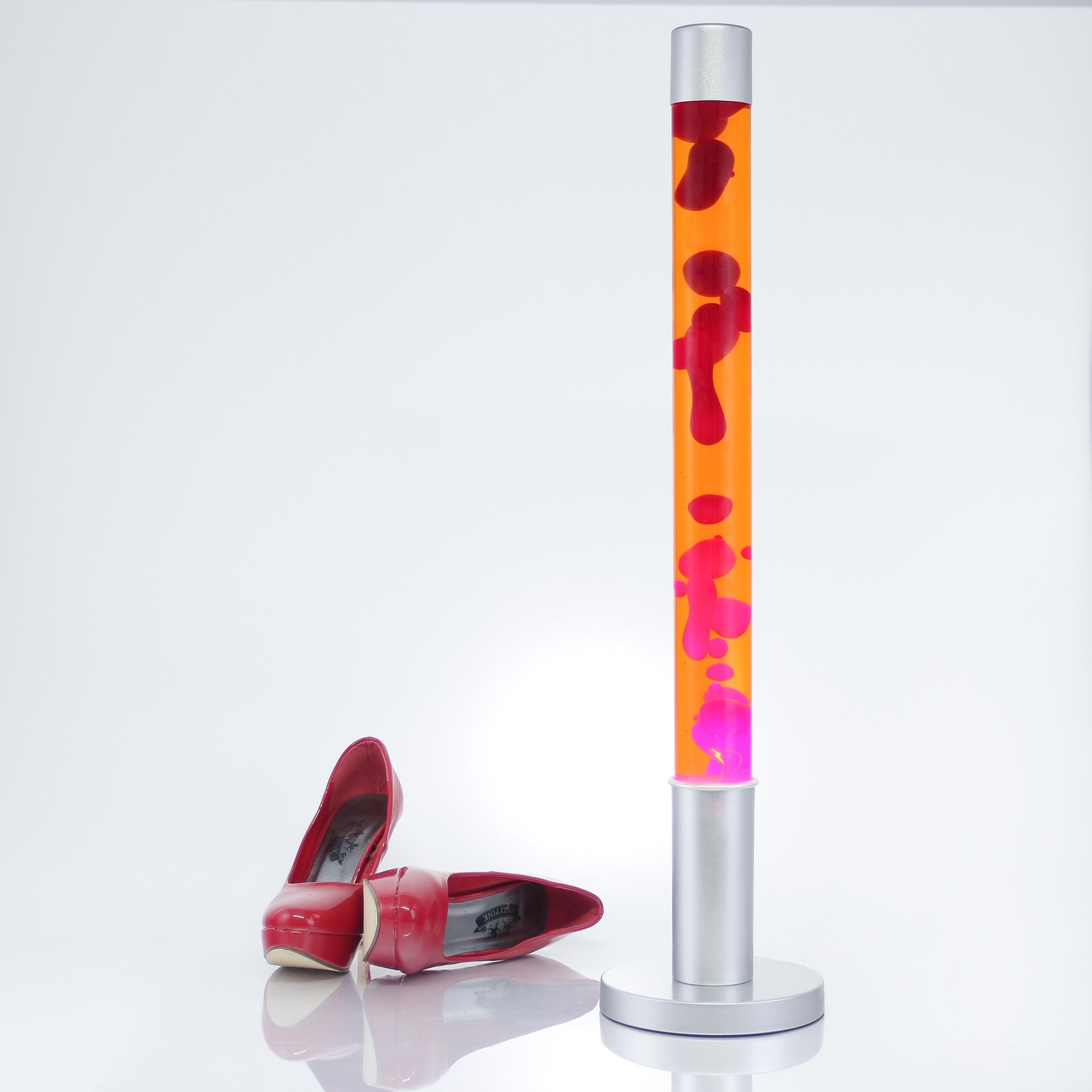 Lavaleuchte KOMPAKT Weiss Rot aus Glas inkl Leuchtmittel 25W 230V