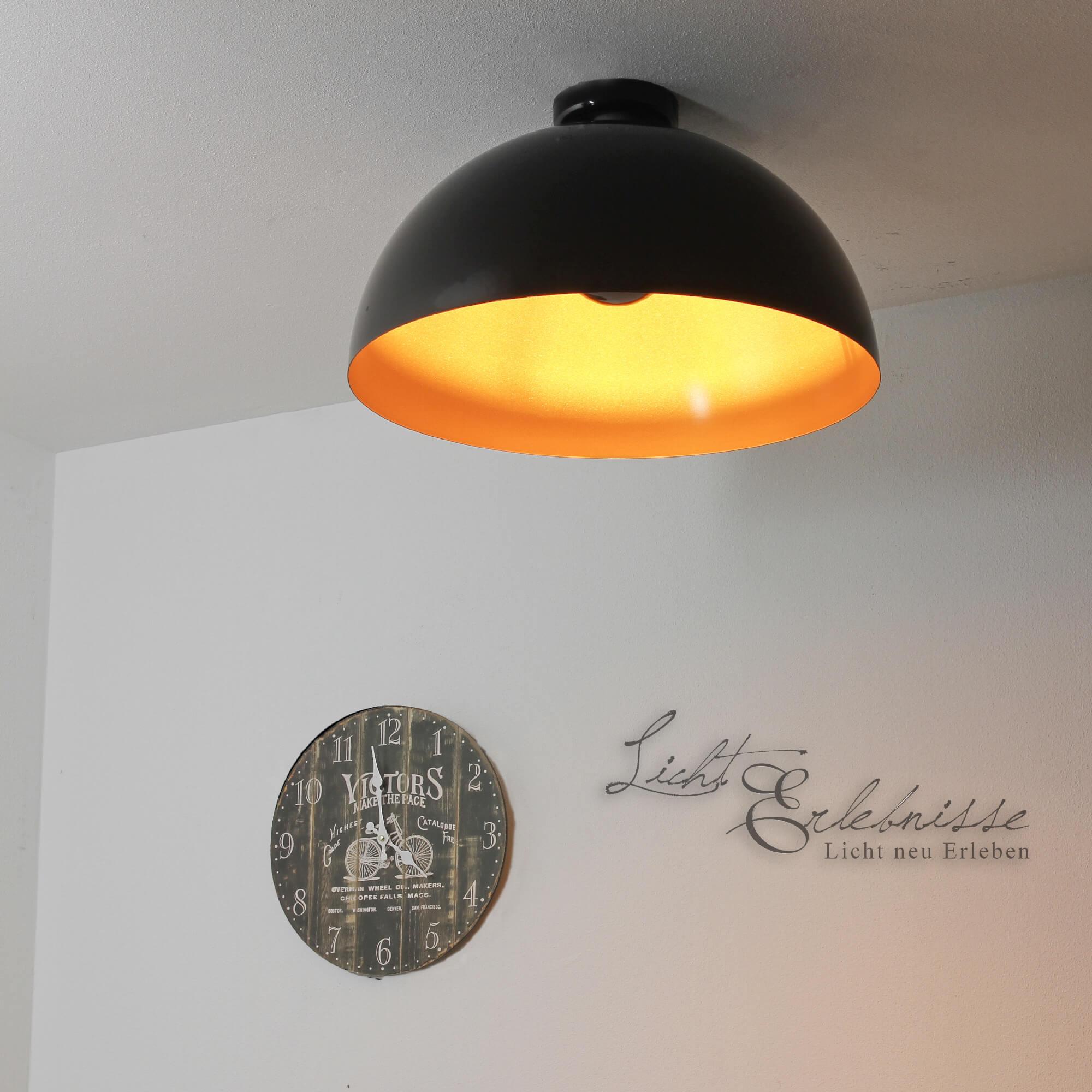 XXL Loft Deckenleuchte in schwarz-gold E27 100W Innen Deckenlampe Vintage Küche