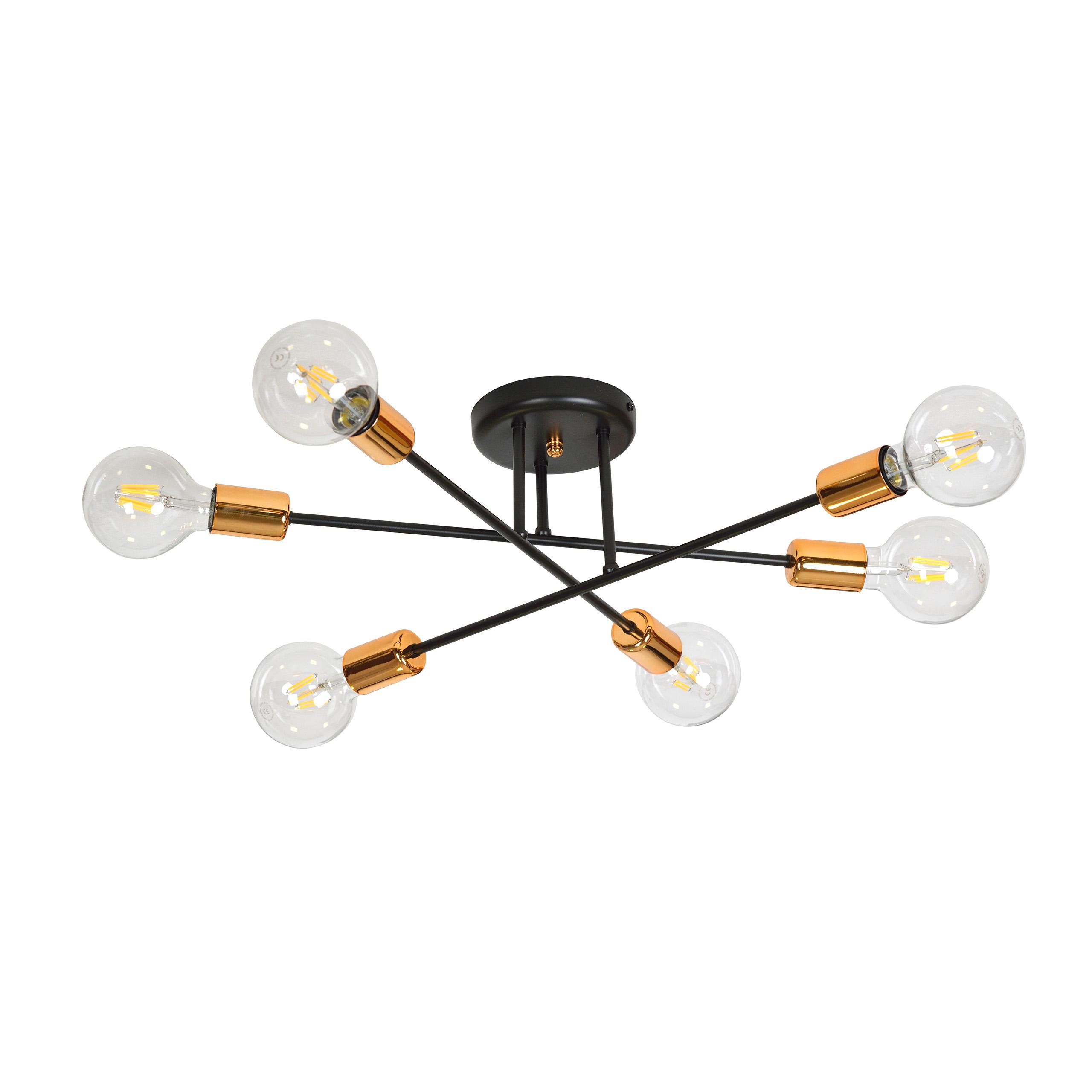 Mobel Wohnen Deckenleuchte Schwarz Kupfer O55cm Metall 6 Flammig Niels Wohnzimmer Lampe Decke Theutcecho Com