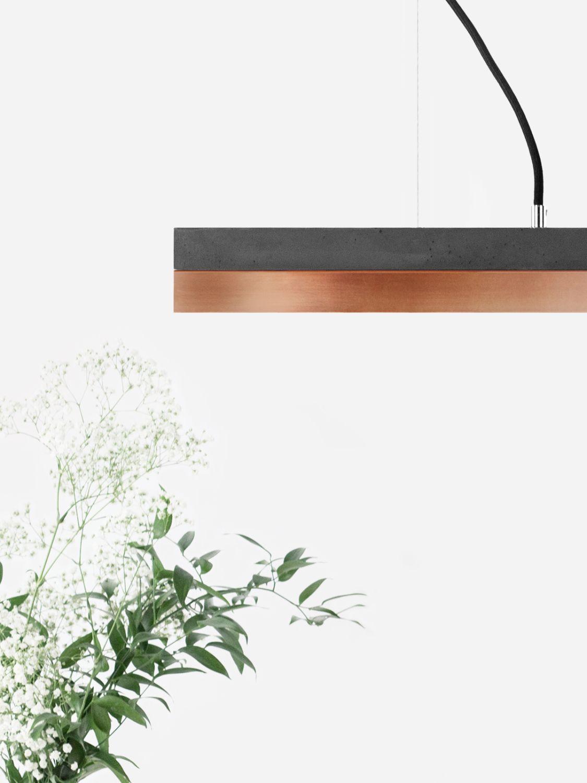 LED Pendelleuchte aus Beton Kupfer dimmbar 4000K Handmade