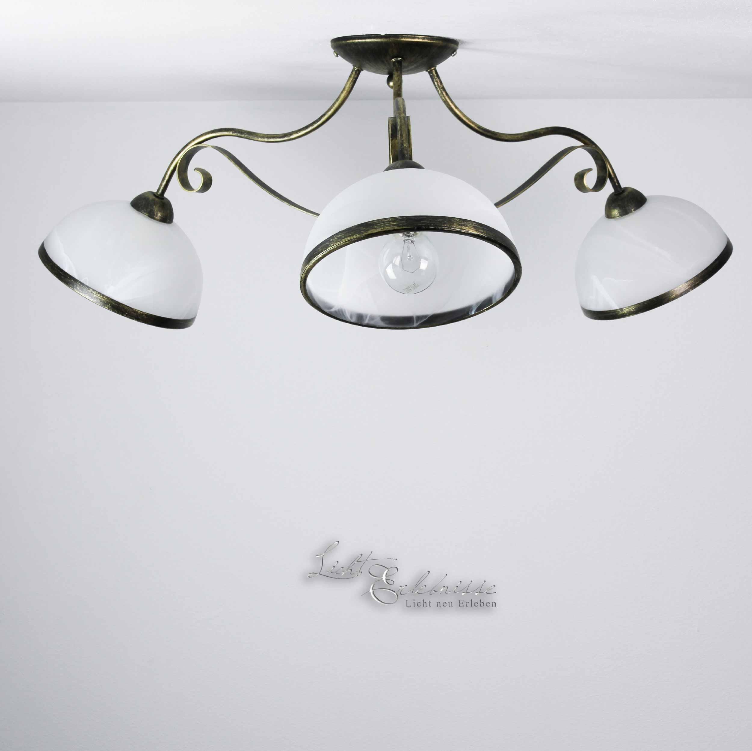 Deckenleuchte 3x E27 in Messing Ø70cm Leuchte Decke Deckenlampe Rustikal Glas