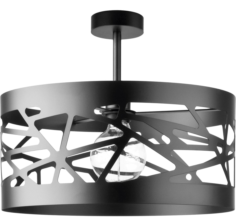 Schwarze Deckenleuchte breiter Schirm Modernes Design Wohnzimmer Lampe   eBay