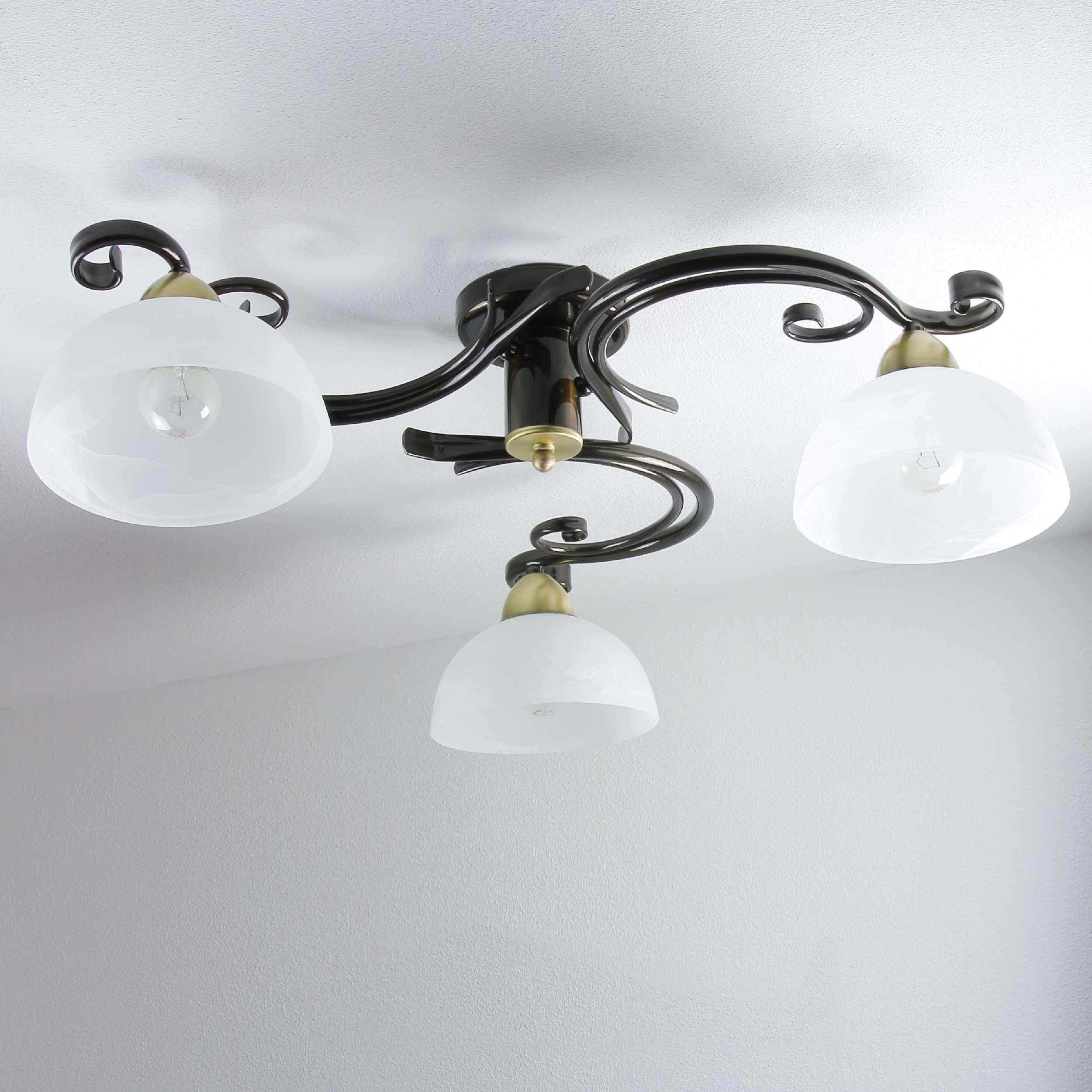 Deckenleuchte Braun Weiß Messing Landhaus rustikal Glas E27 Lampe Wohnzimmer   eBay