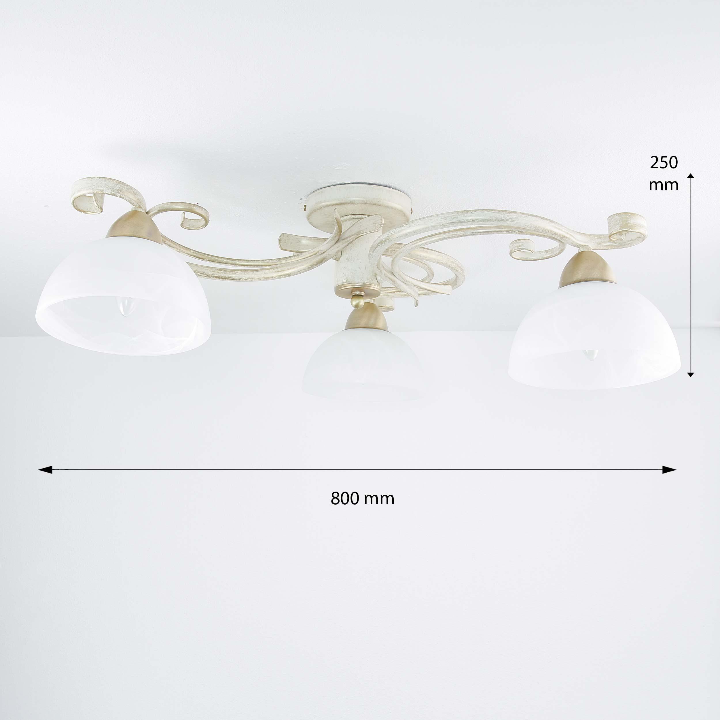 Deckenleuchte Shabby Chic Weiß Ø78cm E27 Landhaus Lampe ...