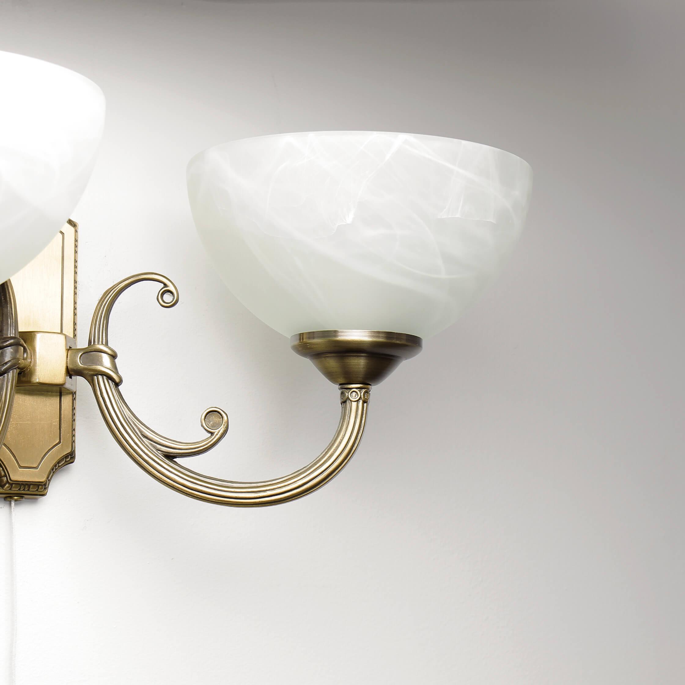 Edle Wandleuchte Landhaus Stil in Bronze Alabaster Glas Wohnzimmer Flur Lampe   eBay