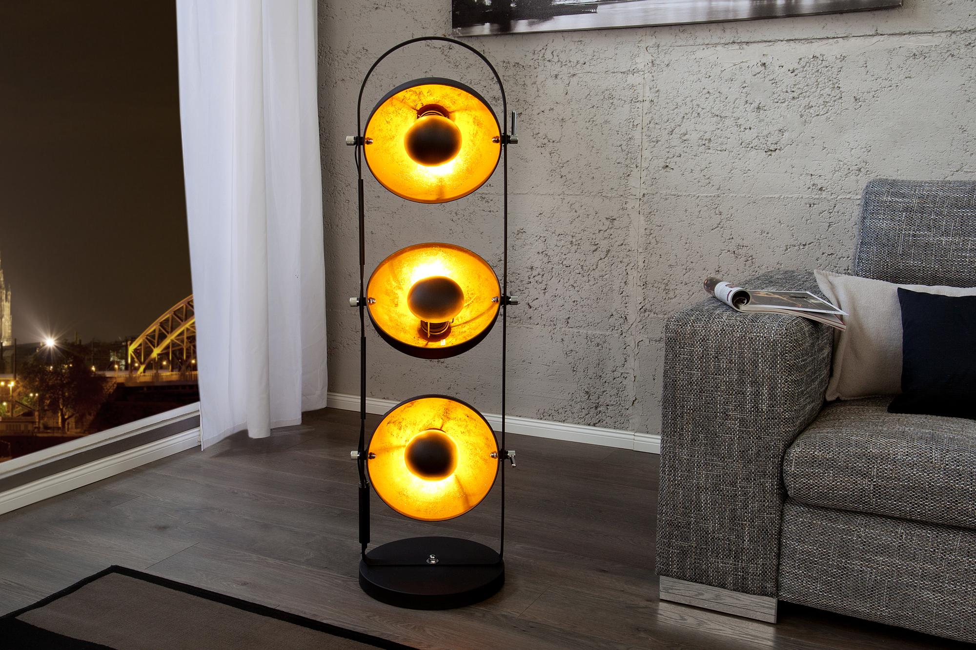 Stehlampe 130cm Retro Aussergewohnlich Schwarz Gold Wohnzimmer Ebay