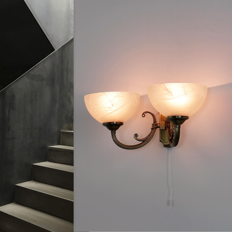 6w Led In Bronzefarbig Wandlampe Jugendstil Glas Innen Edle