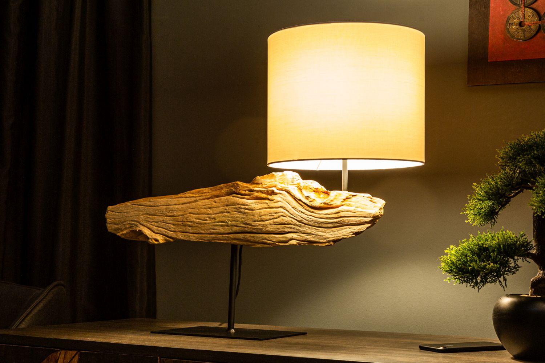 Handgefertigte Tischleuchte PECIOS Treibholz Stoff Unikat Wohnzimmer Tisch Lampe   eBay