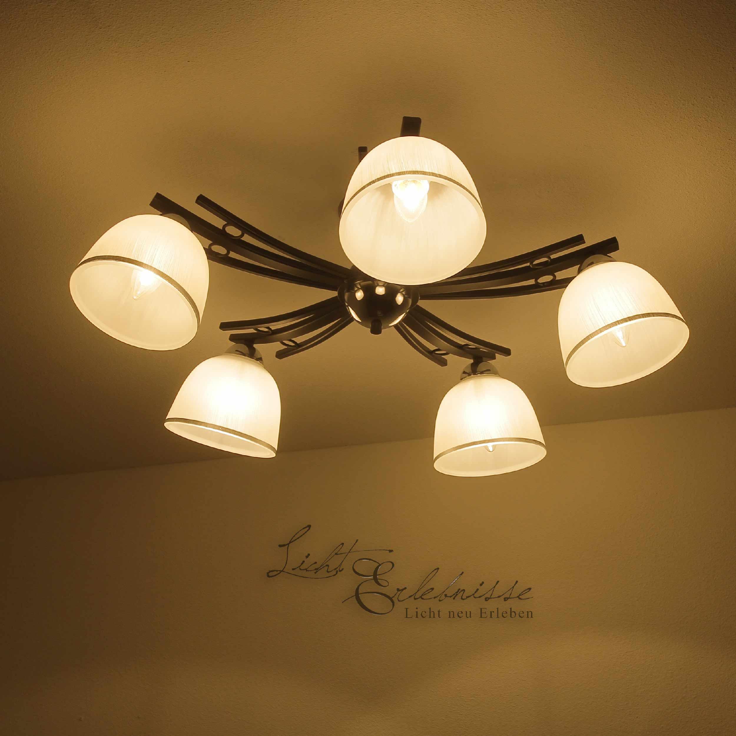 Deckenleuchte Landhaus schwarz weiß 5x E27 Ø76cm Lampe Decke Wohnzimmer Glas   eBay