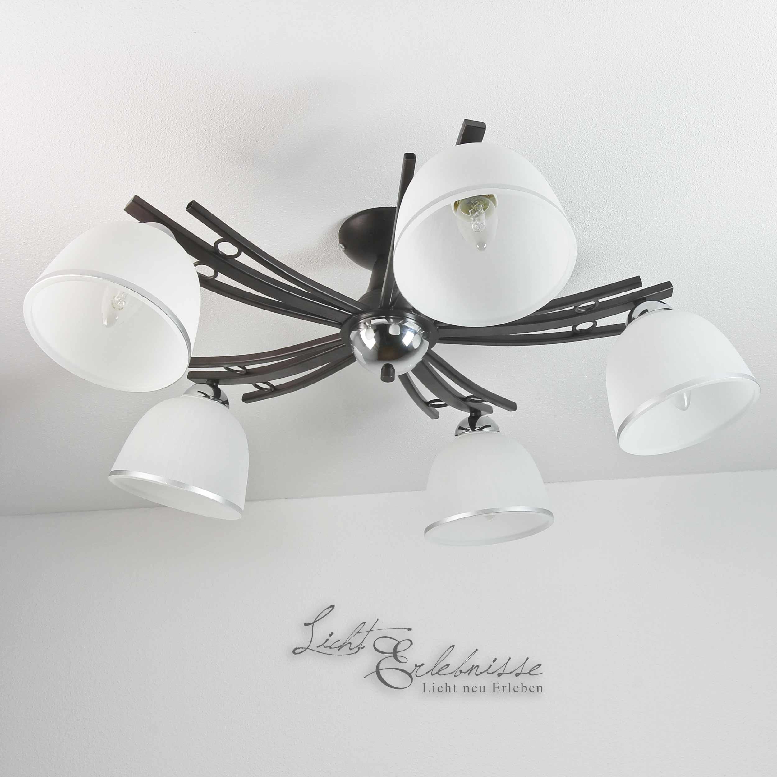 Deckenleuchte 5x E27 Ø76cm Schwarz Deckenlampe Modern NEU Glas innen Wohnzimmer