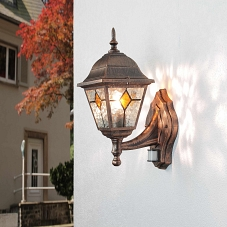 antik farbende au enleuchte wandlampe mit bewegungsmelder sensor beleuchtung hof ebay. Black Bedroom Furniture Sets. Home Design Ideas