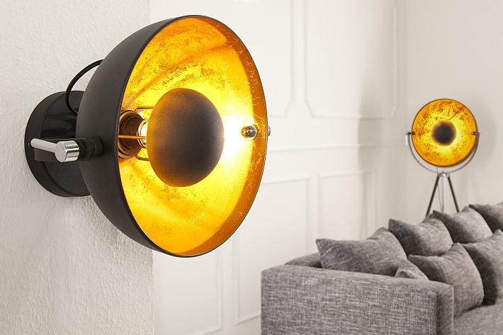 wandlampe e27 rund retro design schwarz gold indirektes. Black Bedroom Furniture Sets. Home Design Ideas