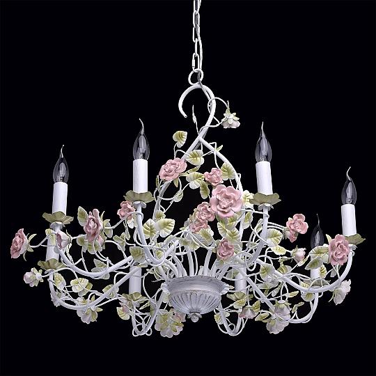 floraler kronleuchter shabby wei gr n rosa 86cm gro. Black Bedroom Furniture Sets. Home Design Ideas