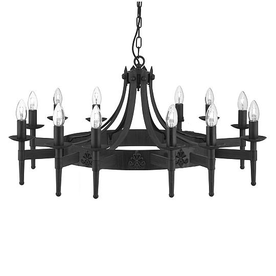 rustikale pendelleuchte schwarz 12f eisen massiv kronleuchter lampe decke 105cm ebay. Black Bedroom Furniture Sets. Home Design Ideas
