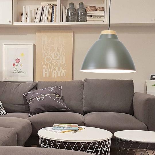 Deckenlampen & Kronleuchter Stilvolle Pendelleuchte Ø9cm Grau E9