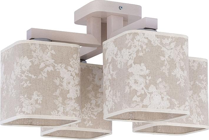 Plafoniera Tessuto Design : Plafoniera paralume in tessuto beige 4x e27 floreale moderno