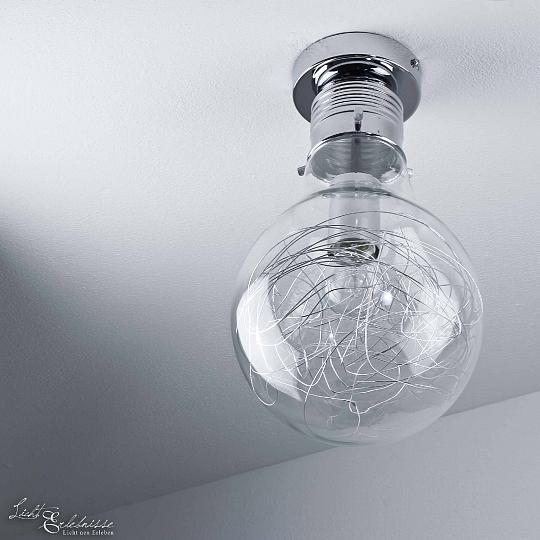 Plafoniera moderna forma di lampadina chrome luce di for Lampada a lampadina