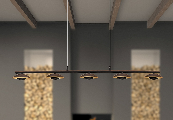 Moderno Lámpara Colgante LED 25 Marrón Oro ajustable Mesa de comedor ...