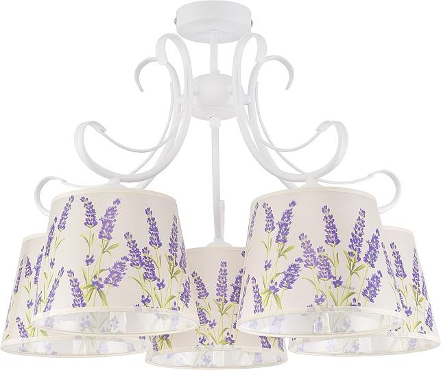 Plafoniera stile country bianco fiori lilla 5-flammig Lampada da ...