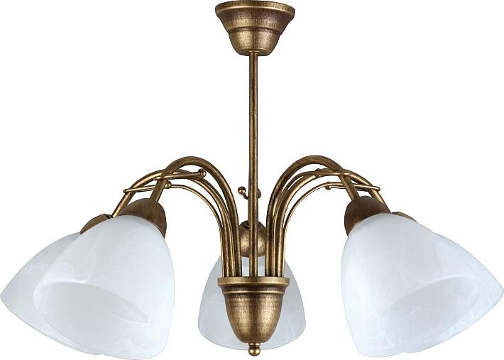 Formschöne Jugendstil Deckenleuchte 5xE27 in Altmessing Deckenlampe Messinglampe