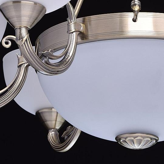 Jugendstil Kronleuchter in Messing Ø80cm Glas Schirm Wohnzimmer Esszimmer Lampe