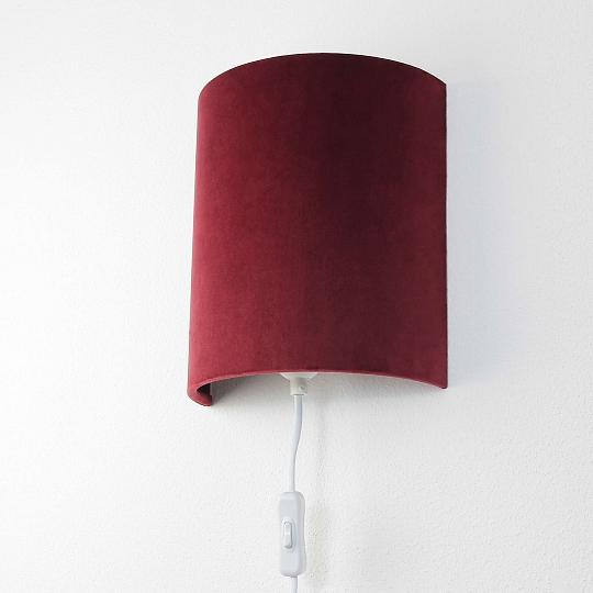 elegante wandlampe aus samt rot mit stecker schlafzimmer. Black Bedroom Furniture Sets. Home Design Ideas
