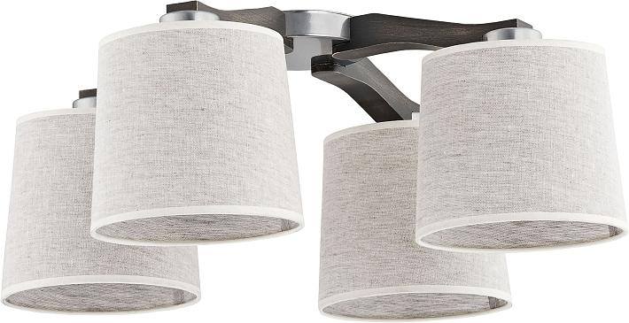 Plafoniera schermo di stoffa grigio legno fiamme illuminazione