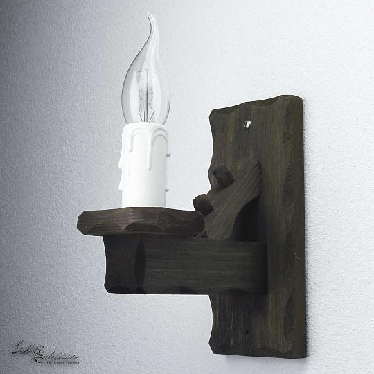 Urige wandleuchte rustikal wandlampe schwarz holz wand - Wandleuchte rustikal ...