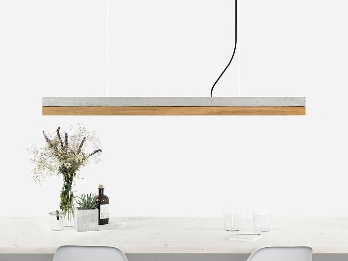 Details Zu Led Pendelleuchte Schirm Aus Beton Holz 2700k L122cm Design Lampe Esstisch