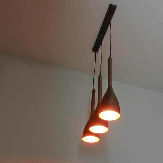 Edle Hängeleuchte Metall mit Holz hell Schwarz Gold Ø11cm E27 Pendel Lampe innen