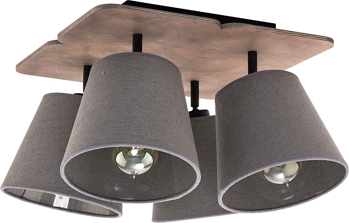 Plafoniera grigio 4x e27 luce tessuto lampada da soffitto moderna