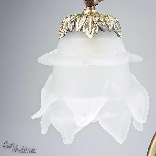 Tischleuchte Schlafzimmer Lampe Echt-Messing Glas Bronze