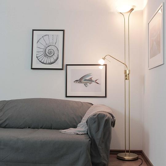 stehlampe in messing 25 5cm r7s standleuchte stand klassisch lampe dimmer neu ebay. Black Bedroom Furniture Sets. Home Design Ideas