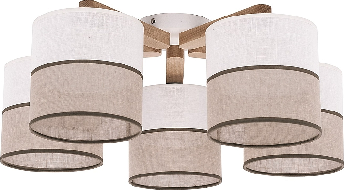 Plafoniere Tessuto Design : Plafoniera moderna bianco marrone flmg legno tessuto b cm l