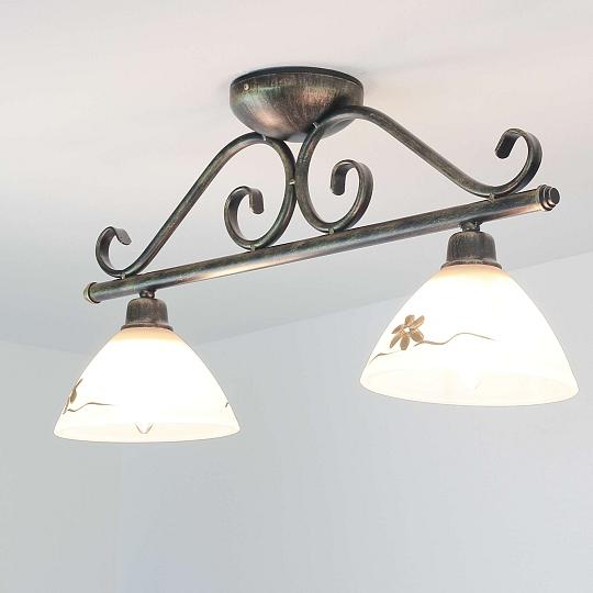 deckenleuchte rustikal 2xe27 lampe antik braun gold flach wohnzimmer deckenlampe ebay. Black Bedroom Furniture Sets. Home Design Ideas