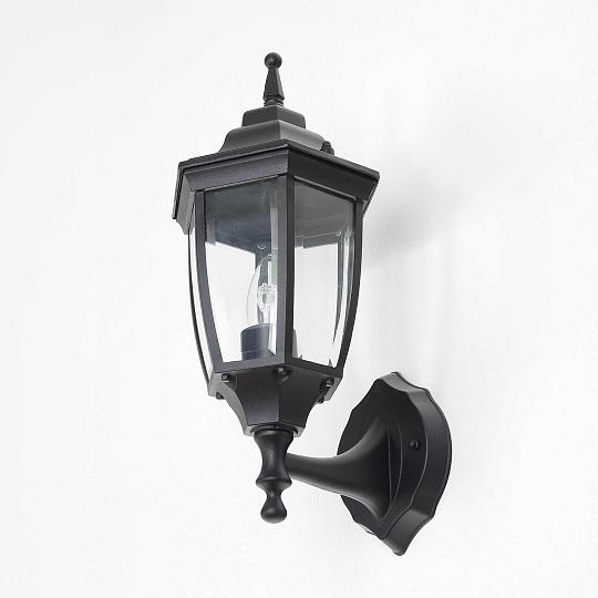 Elegante Außen Wandleuchte Schwarz Echtglas E27 H:35cm Ip44 Außenleuchten stehend Lampen & Licht