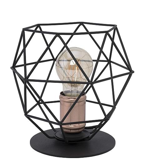 tischleuchte schwarz kupfer drahtschirm modernes design h. Black Bedroom Furniture Sets. Home Design Ideas