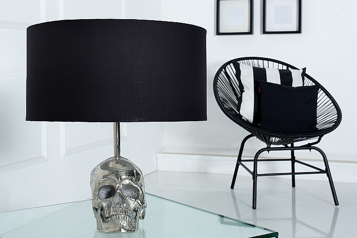 tischleuchte 40cm modern design schwarz silber mit. Black Bedroom Furniture Sets. Home Design Ideas