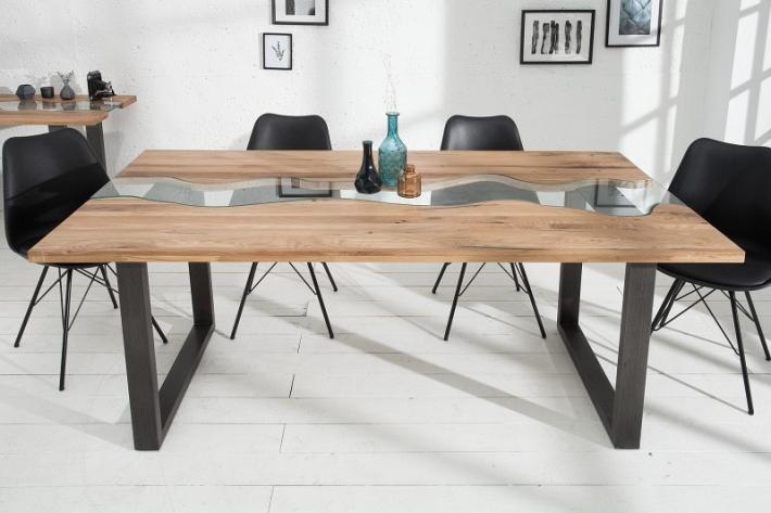 Esstisch Massivholz 200cm Holz & Glas Holztisch Tisch