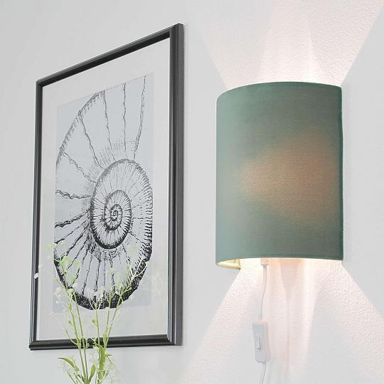 Dettagli su Lampada da Parete Verde Velluto con Spina Elegante Alice Camera  da Letto