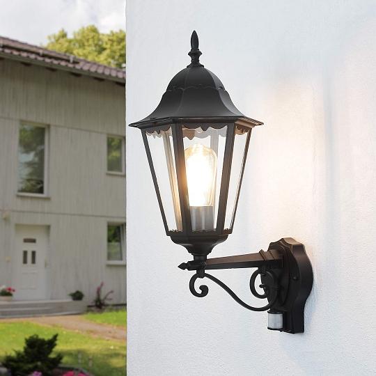 schwarze wand leuchte mit bewegungsmelder e27 ip44 53cm au en lampe beleuchtung ebay. Black Bedroom Furniture Sets. Home Design Ideas