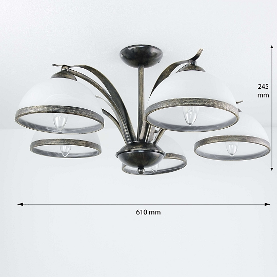Deckenleuchte in Messing Ø78cm 5x E27 Deckenlampe Leuchte Floral Decke Glas NEU