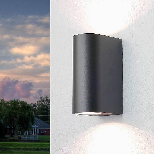 FARETTO Up Down compresi 2 LED Nero Interno Esterno Lampada In Acciaio Inox Lampada Cortile