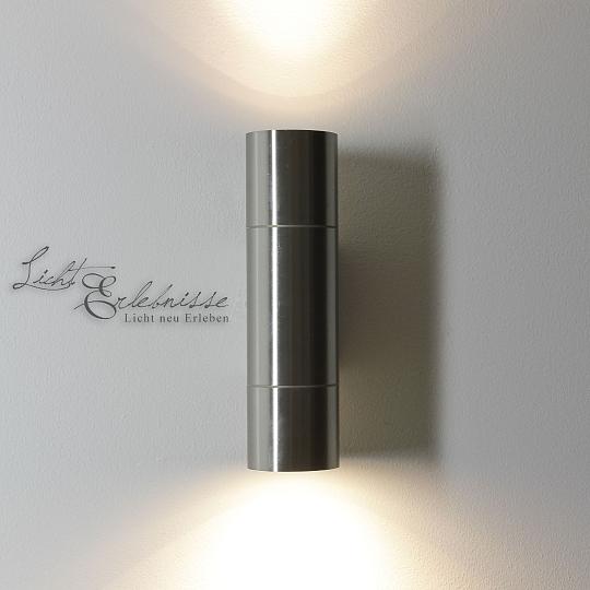 led edelstahl au enleuchte up down ip44 wandleuchte au enlampen wandlampen ebay. Black Bedroom Furniture Sets. Home Design Ideas