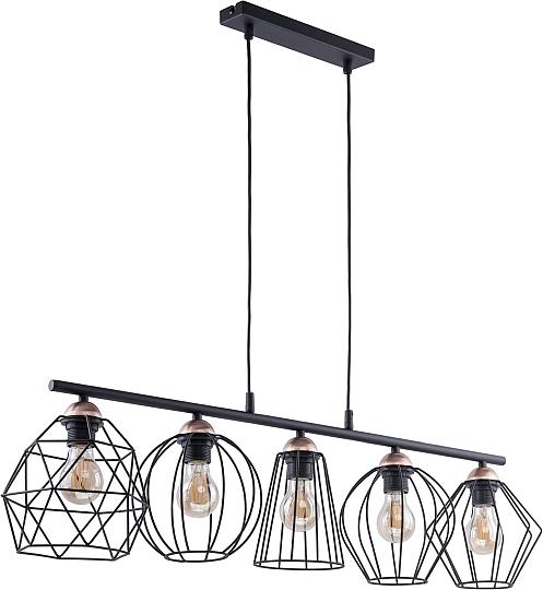 pendelleuchte schwarz kupfer 5flmg modern drahtschirm. Black Bedroom Furniture Sets. Home Design Ideas